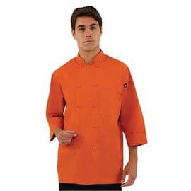 Chaqueta de cocina manga tres cuartos naranja Chef Works