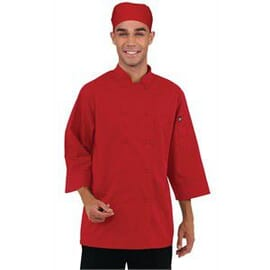 Chaqueta de cocina manga tres cuartos roja Chef Works