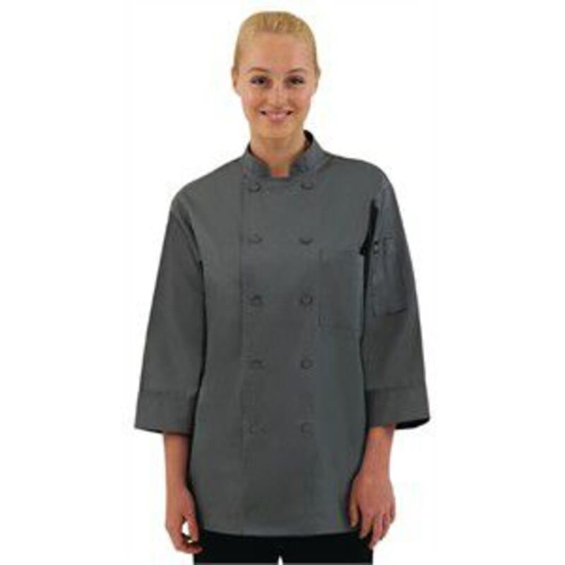 Chaqueta de cocina manga tres cuartos gris chef works for Chaqueta tres cuartos