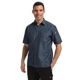 Camisa vaquera Chef Works Detroit manga corta azul
