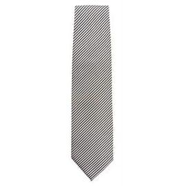 Corbata a rayas finas plateada y negra