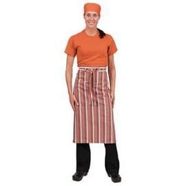 Delantal de camarero a rayas naranja blanco marrón Chef Works