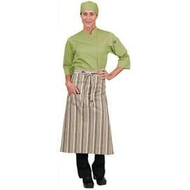 Delantal de camarero a rayas lima blanco marrón Chef Works