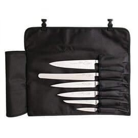Bolsa textil enrollable para cuchillos negra 6 ranuras Dick