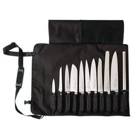 Bolsa textil enrollable para cuchillos negra y tira 11 ranuras Dick