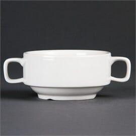 Taza de consomé con asas porcelana blanca 115mm
