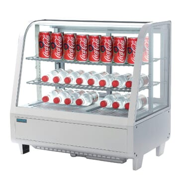 Unidad de vending refrigerada sobre mostrador blanca 100L
