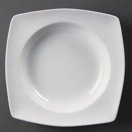 Bols cuadrados redondeados blancos con hueco circular 210mm Olympia
