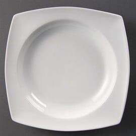 Bols cuadrados redondeados blancos con hueco circular 250mm