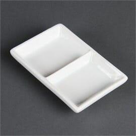 Plato con 2 huecos blanco