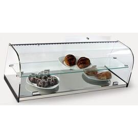 Vitrina neutra cerrada de cristal curvo, con base en acero inoxidable y estante intermedio