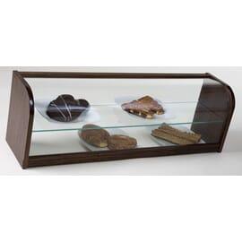 Vitrina neutra abierta de cristal curvo, de dos pisos y leja intermedia en cristal. Construida en madera natural lacada