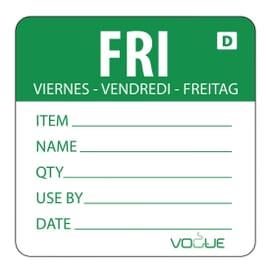 Etiquetas solubles Día de la Semana Vogue viernes verdes