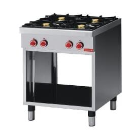 Cocina a gas con 4 quemadores, armario inferior