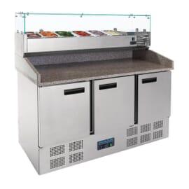 Mostrador de preparación de pizza y ensalada refrigerado 368L